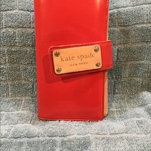 Kate spade credit card wallet red patent